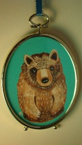 in the forest's Original forest brown BEAR painting, framed wall hanging